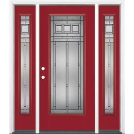 Masonite Craftsman Glass 1 Panel Insulating Core Full Lite Right Hand Inswing Roma Red Fiberglass Painted Prehung Entry Products Entry Doors Doors Entry Door With Sidelights