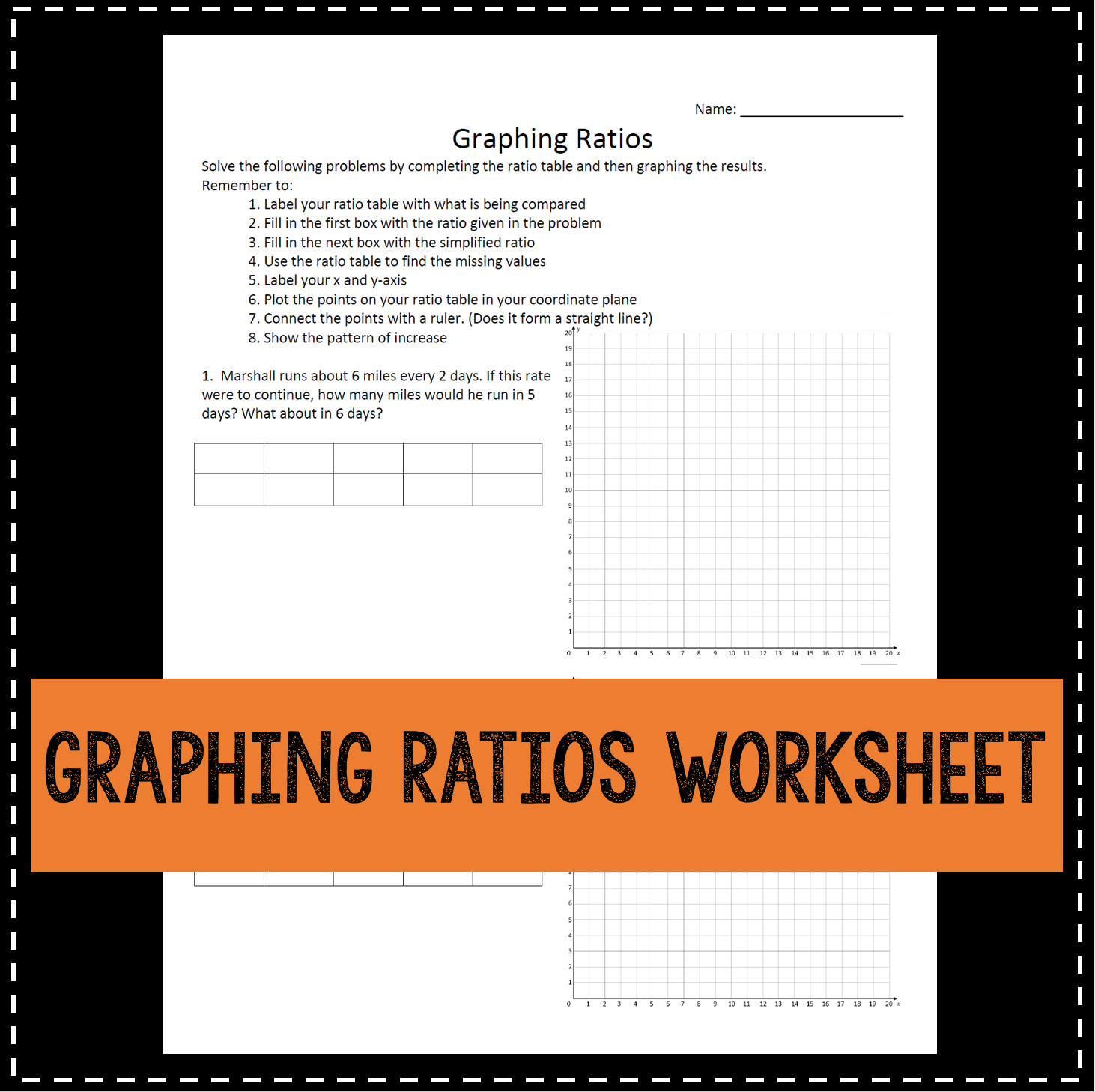 Graphing Ratios Practice Worksheet