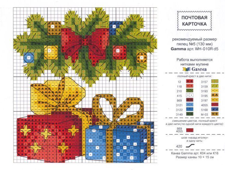Новогодняя открытка крестиком схема