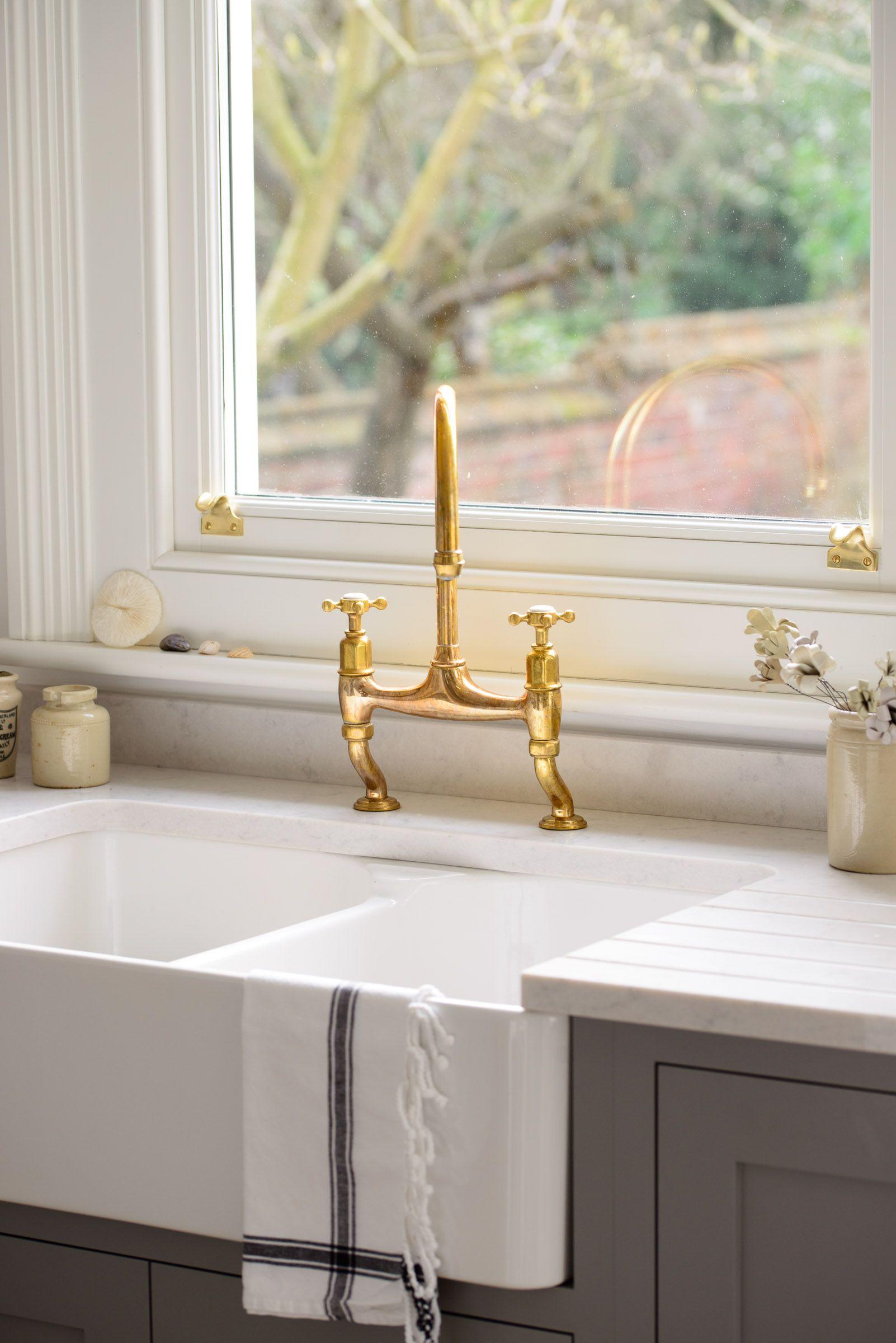 A Classic Villeroy Boch Farmhouse Sink With Devol Aged Brass