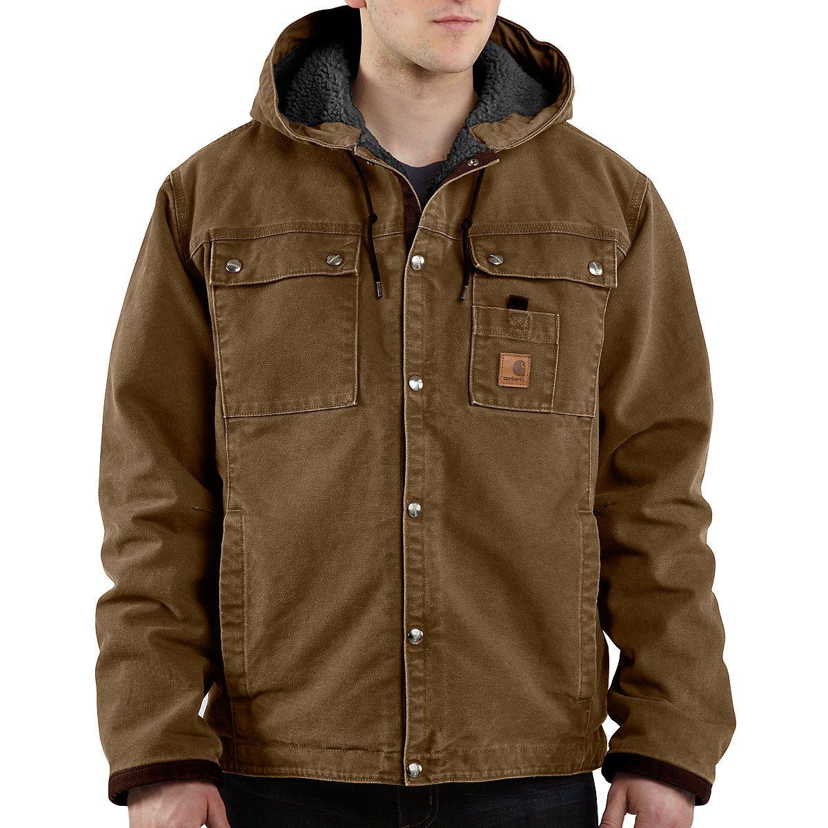 Sandstone Hooded Multi Pocket Jacket Sherpa Lined Carhartt Jacket Outdoor Outfit Jackets For Big Men [ 1199 x 1200 Pixel ]