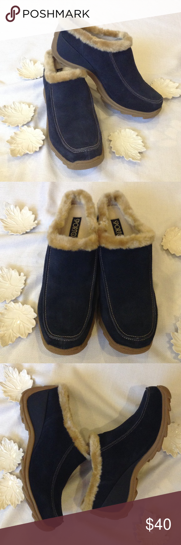 "Sporto Blue Suede Mules NWOB blue suede upper, faux fur collar, 2.25"" heel. Size is 11 W. Sporto Shoes Mules & Clogs"