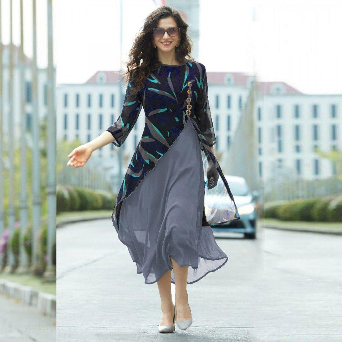 Blue - Grey Layered Georgette Kurti | Pinterest | Western suits ...