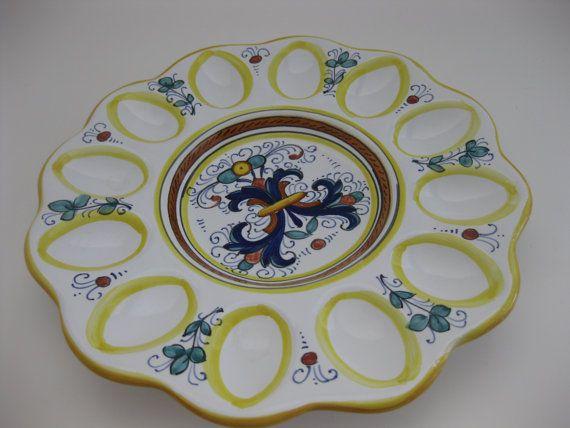 Majolica Egg Plate Platter Deviled Eggs by MyLittleSomethings, $48.50