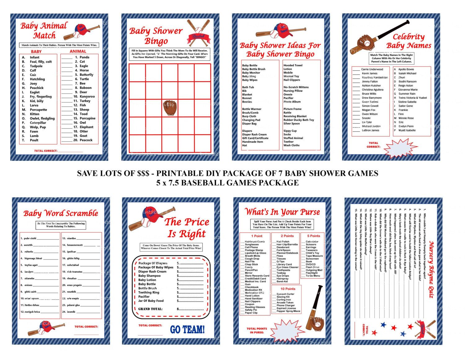 Baseball Baby Shower Game Red And Blue Baseball Theme Baby Game Printable Baseball Game