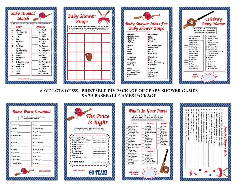 Baseball Baby Shower Game Red And Blue Baseball Theme Baby Game Printable Baseball Game