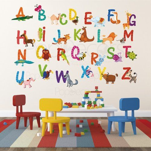 Nursery ABC Alphabet Wall Stickers Children Playroom Wall Decals   26  Alphabet Sticker   Animal Alphabets A Z Stickers Kids Letters