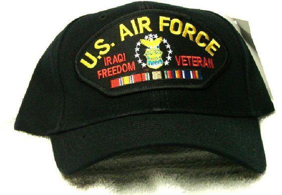 95d346c340e Vintage U S Air Force Iraqi Freedom Veteran Low Profile Black Ball Cap Never  Worn