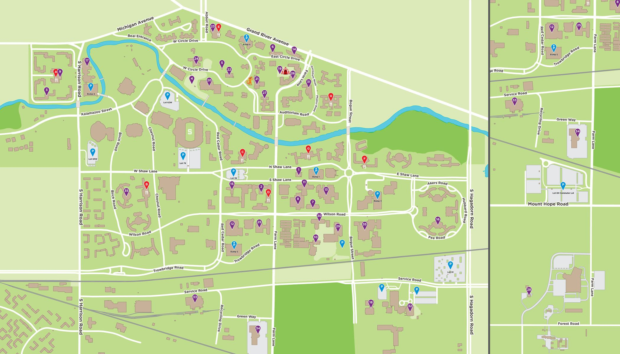 Msu Campus Map On The Banks Of The Red Cedar River Life At Msu