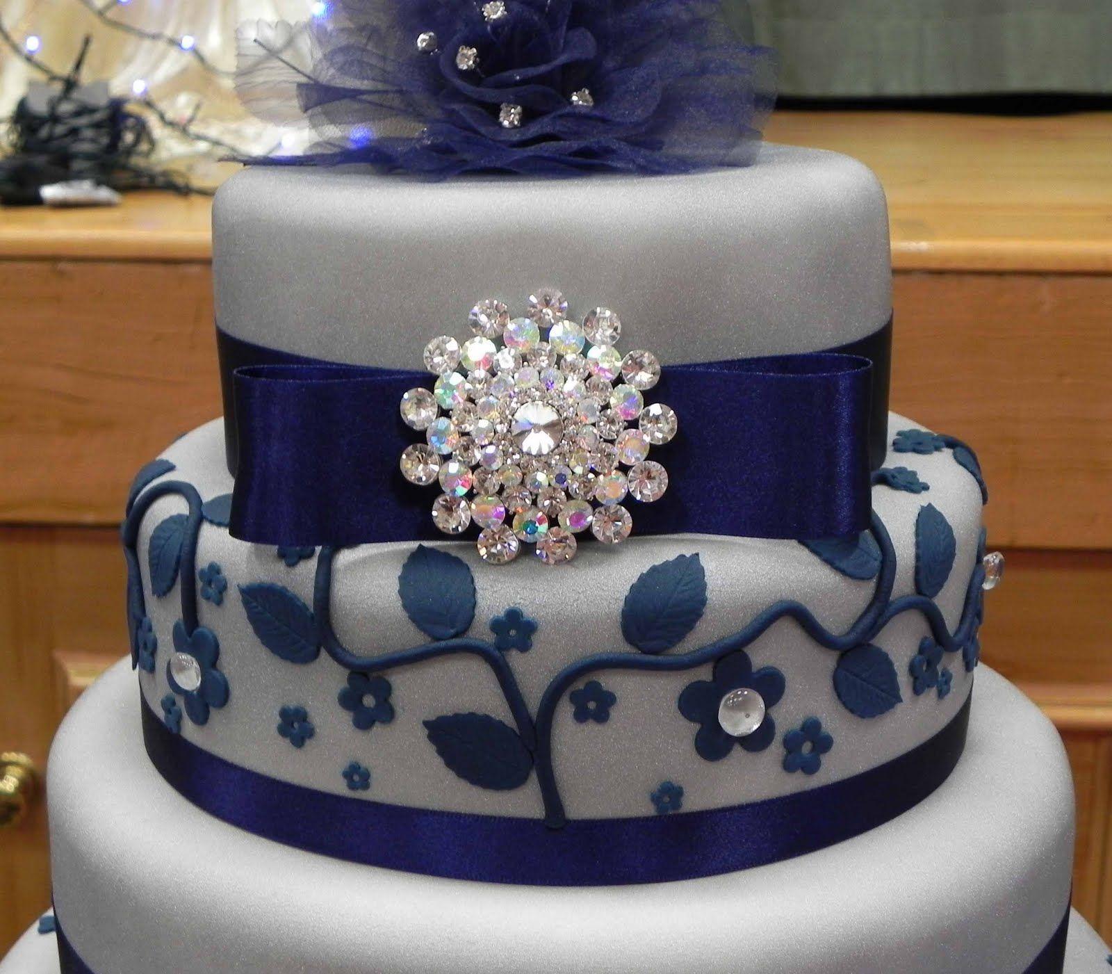 Blue And Silver Wedding Pinterest Blue Wedding Cakes - Blue cake birthday