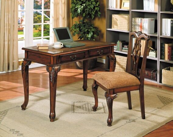 Acme 09650 Aristocrat Dark Cherry Brown Finish Wood Desk And Chair Set Desk And Chair Set Solid Wood Writing Desk Home Office Desks