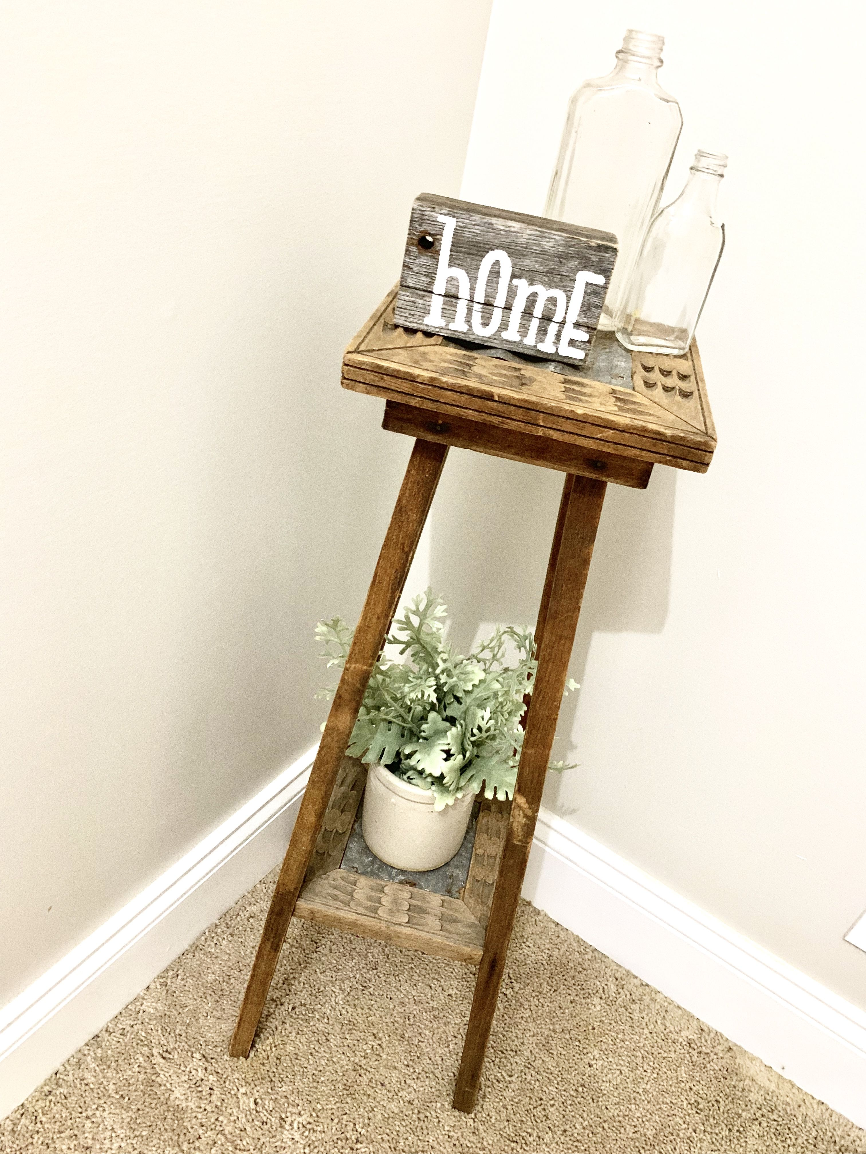 """Upcycled plant stand with hand painted """"home"""" sign, greens"""