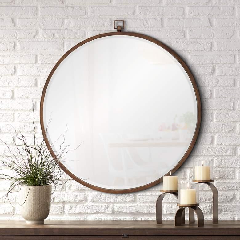 Quinn Antique Bronze 36 Round Wall Mirror 58k57 Lamps Plus In 2020 Round Wall Mirror Mirror Design Wall Round Mirror Bathroom