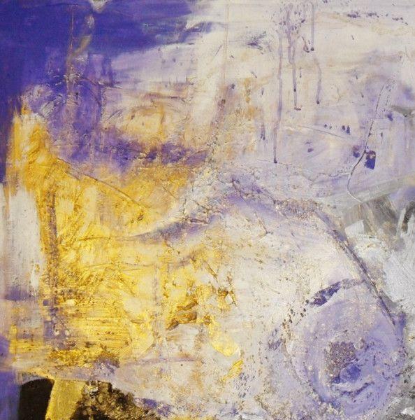 Acrylmalerei Abstraktes Bild 100 X 100 Gold Lila Graphit