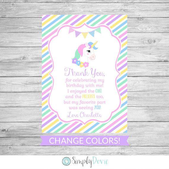 unicorn birthday thank you card printable  unicorn