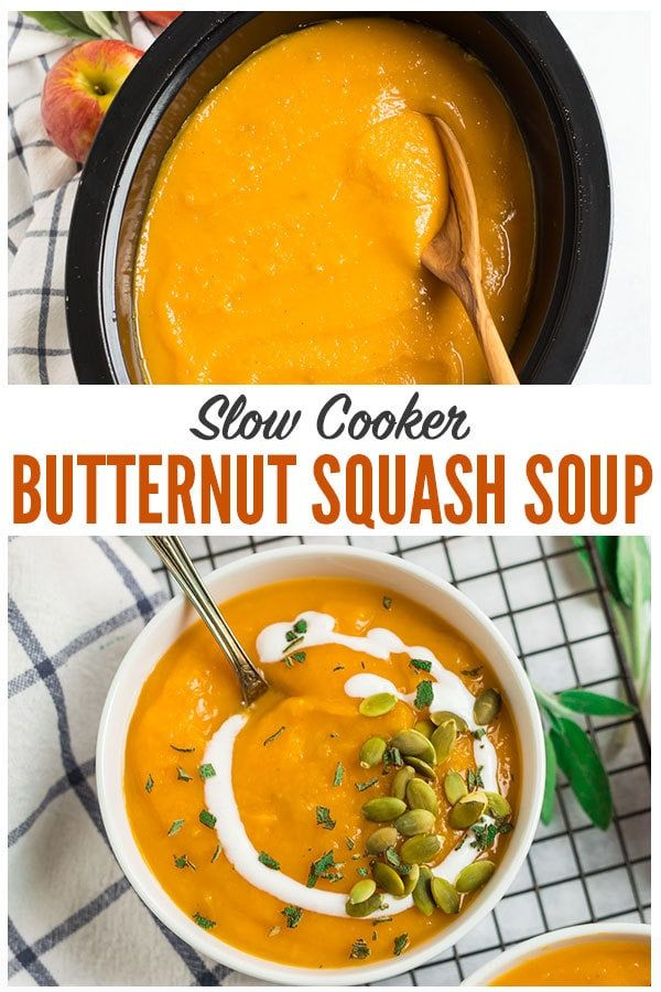 Healthy vegan recipe for the BEST Slow Cooker Butternut Squash Soup with coconut milk and apple. The crock pot makes it easy and it tastes better than Panera! Rich, creamy, and made with simple ingredients, this is one of the best fall comfort foods. #wellplated #butternutsquashsoup #slowcooker #crockpot #healthy #vegan via @wellplated #butternutsquashsoup