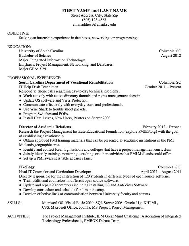 Example Of It Help Desk Technician Resume Examples Resume Cv