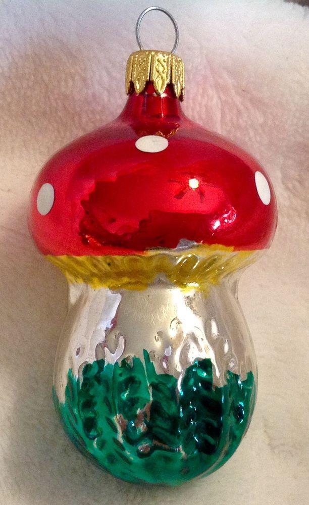Vintage Mercury Glass Mushroom Figural Christmas Ornament Colombia ...