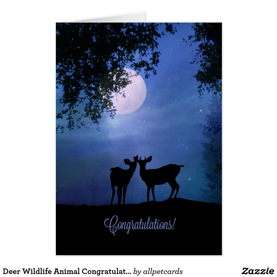 Deer Wildlife Animal Congratulations Cute Wedding Card Deer