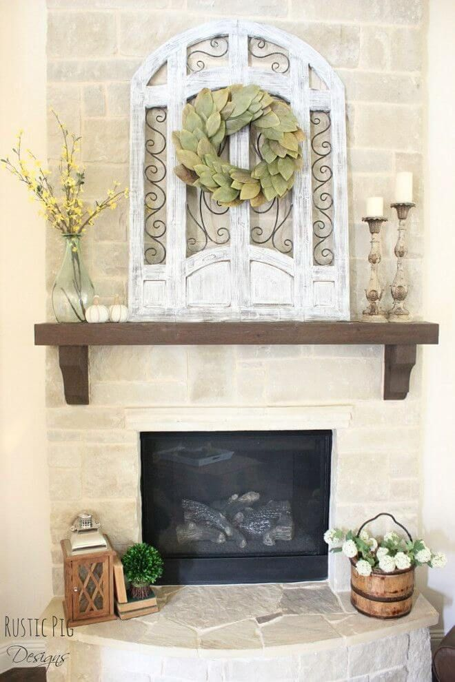 28 Farmhouse Mantel Decor Ideas To Make Your Home Unforgettable For Every Season MantelRustic Fireplace