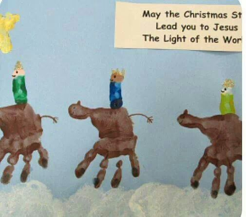Three wise men kids handprint art craft christmas for Three wise men craft