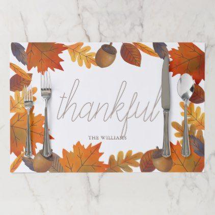 thankful Autumn Foliage & Acorn White Paper Placemat | Zazzle.com #autumnfoliage