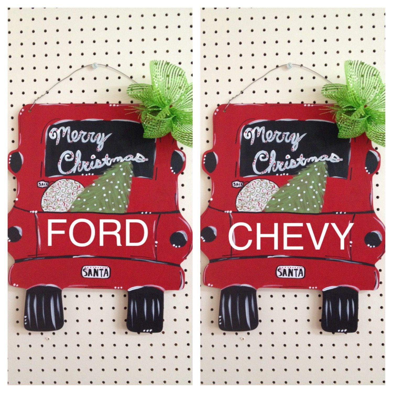 Santa Christmas Tree Ford Chevy Personalized Custom Hand Painted
