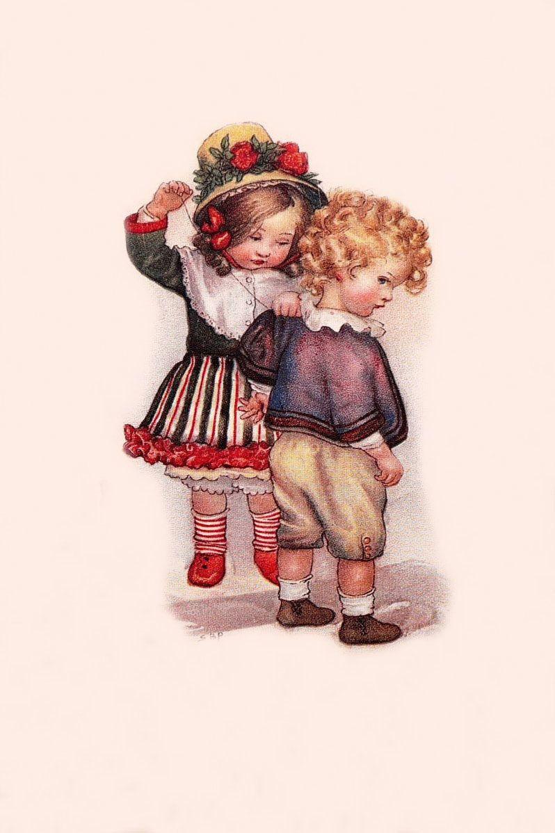 Днем, старинные открытки с детьми и игрушками