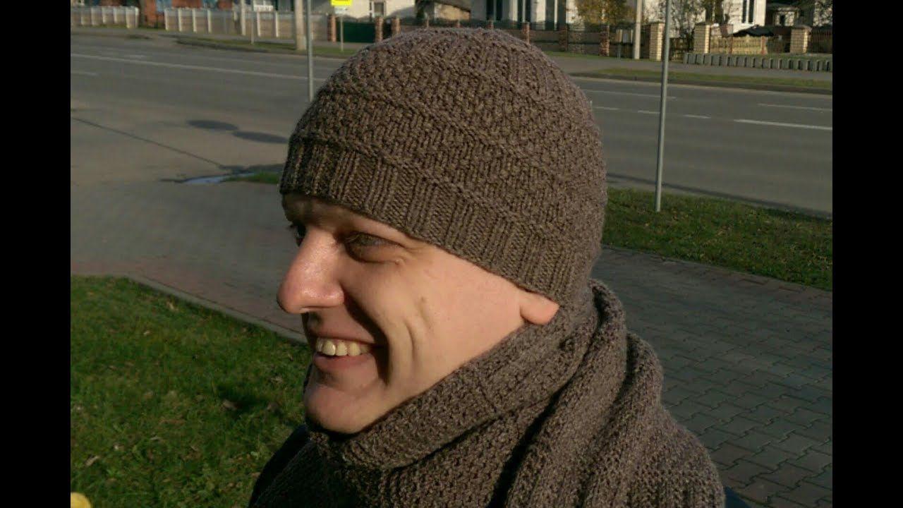 Мужская шапка спицами экспресс МК | вязаные шапки | Pinterest