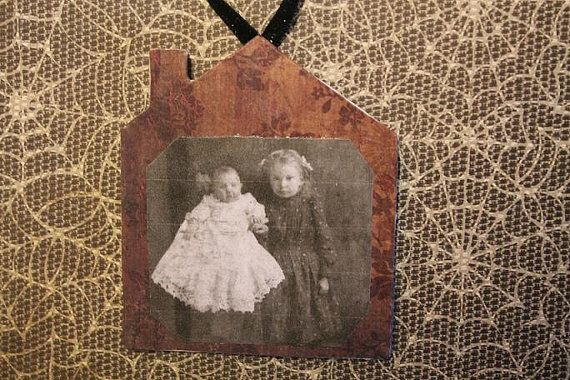 Antique portrait ornament Wooden haunted house by tonyasepulveda