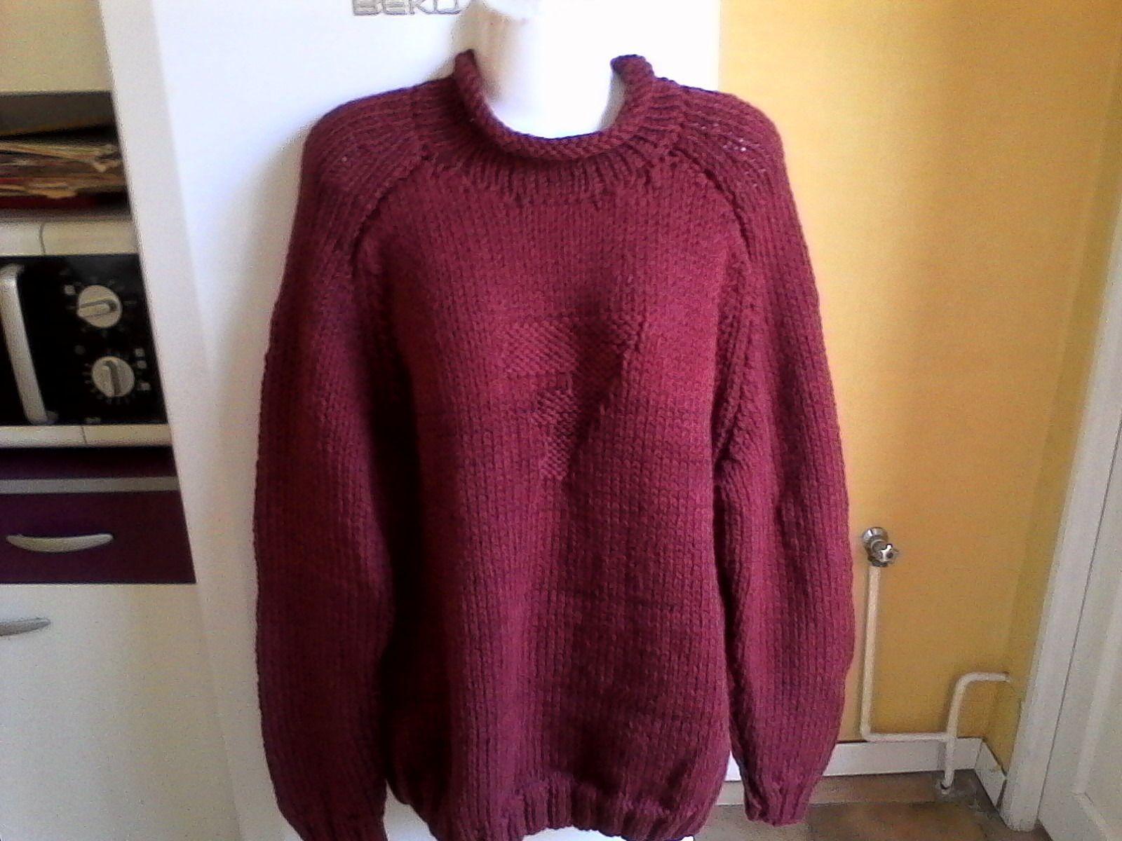 Pull homme col roulotté t. 48 / 50 tricoté main : Pulls, gilets, sweats par tricot-et-crochet-de-binouche