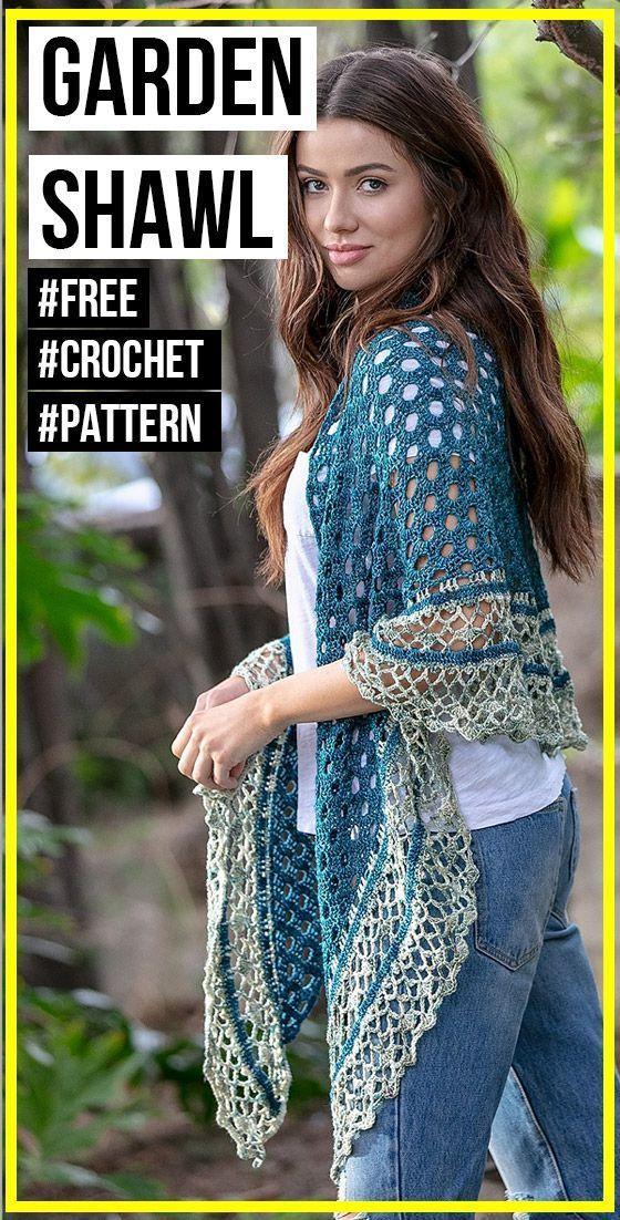 crochet In The Garden Shawl free pattern #shawlcrochetpattern