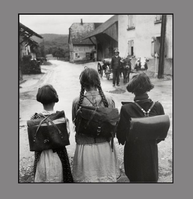 :::::::::: Vintage Photograph :::::::::   Girls and their school satchels