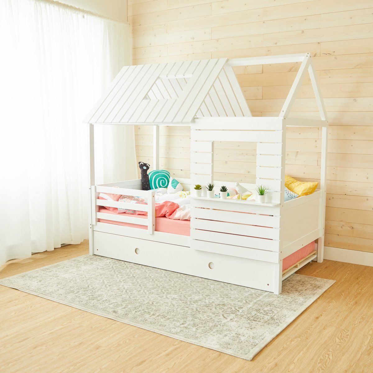 Raised FOUR Rail Hardwood Montessori Twin, Full, Toddler
