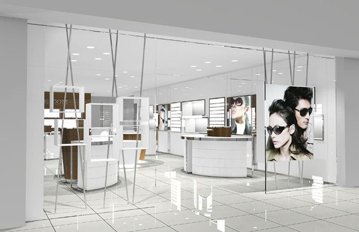 Concise and elegant style optical store design and sunglasses shop ...