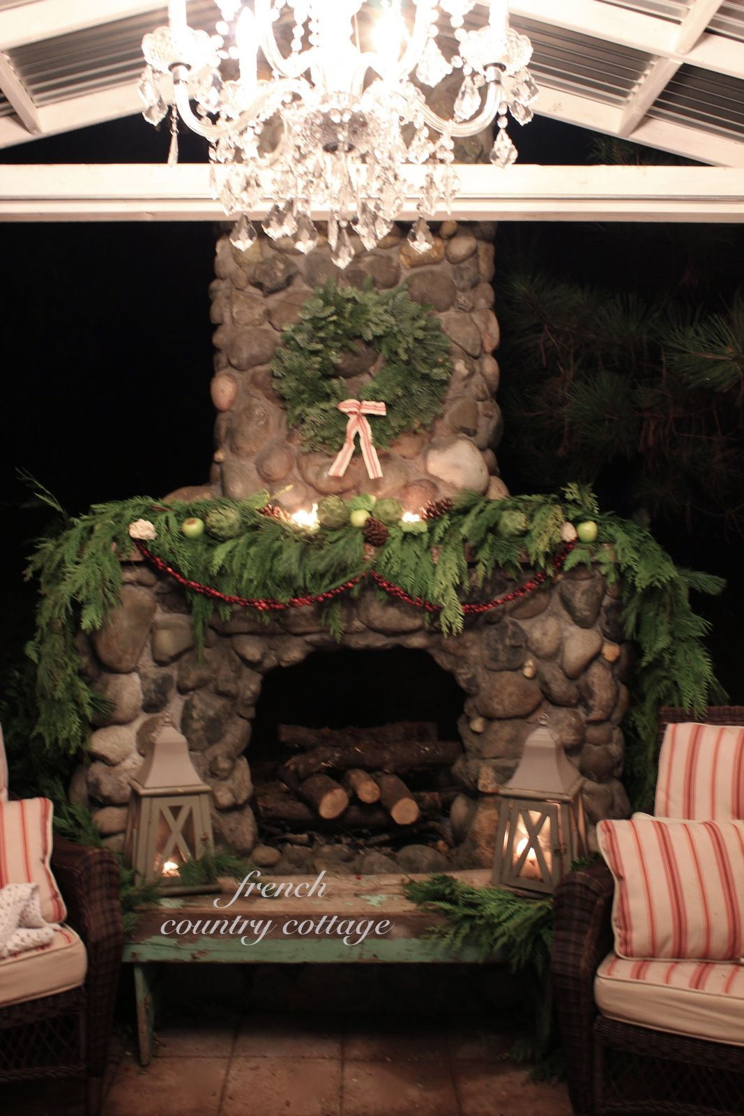 Great Outdoor Rock Fireplace Dressed For Christmas   I Love Decking The Halls For  Christmas And My Favorite Things To Use For Decorating Are Natural Elements.