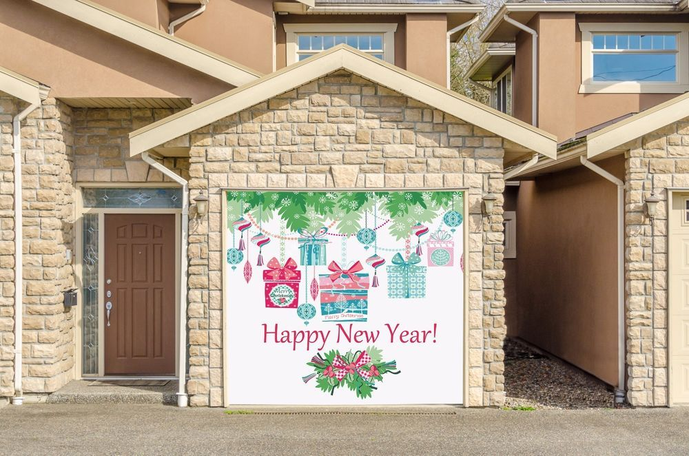 Garage door covers christmas decor full color murals for Garage happy car