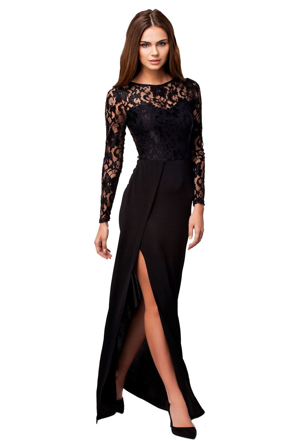 Thigh high slit long sleeve lace maxi dress products pinterest