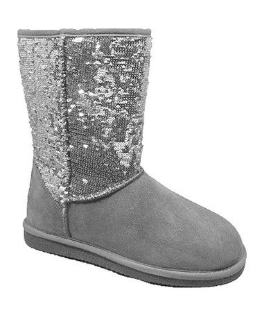 Another great find on #zulily! Gray Sequin Girl Suede Boot #zulilyfinds