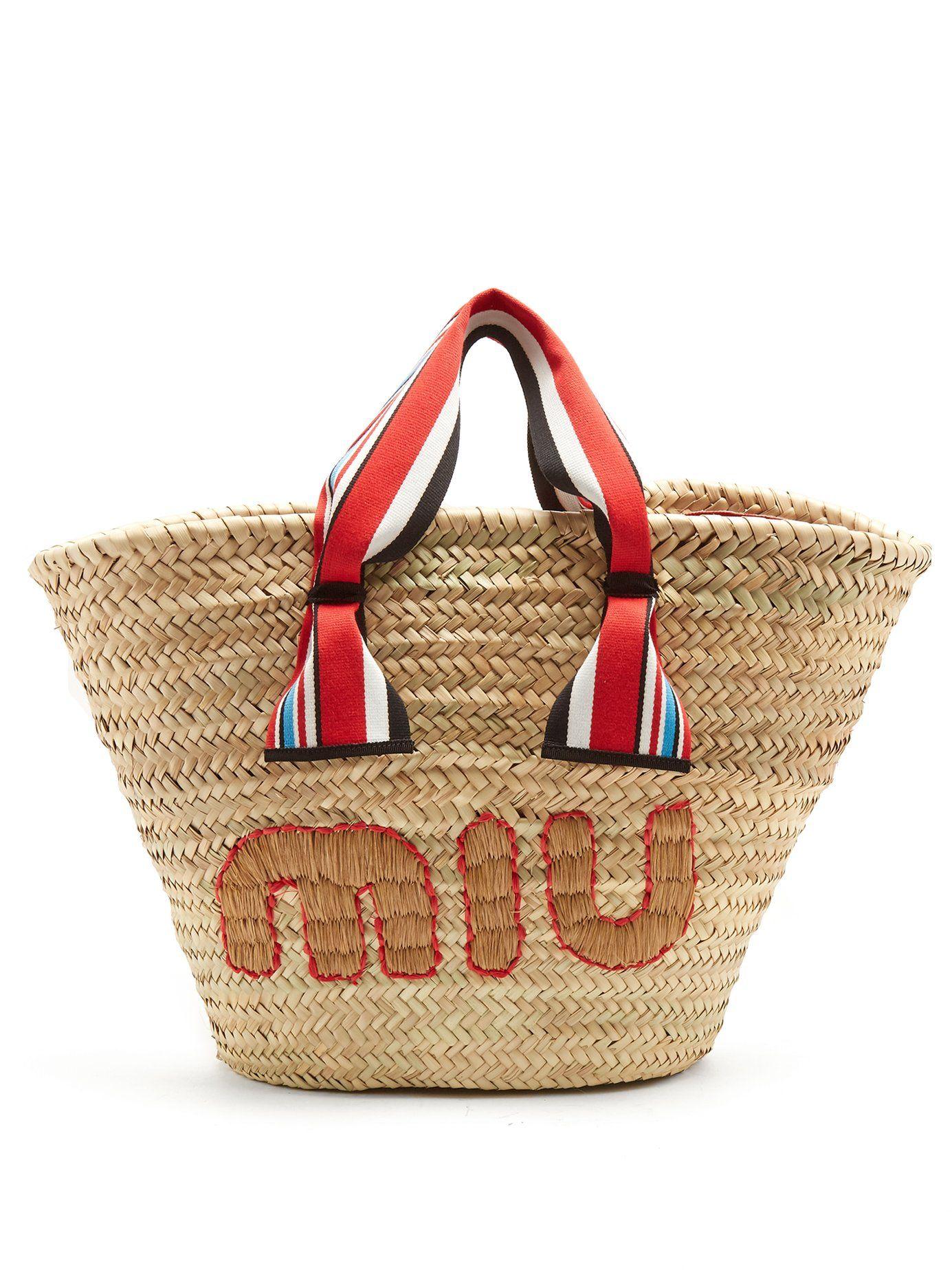 9302f792ed94 Logo-embroidered basket bag