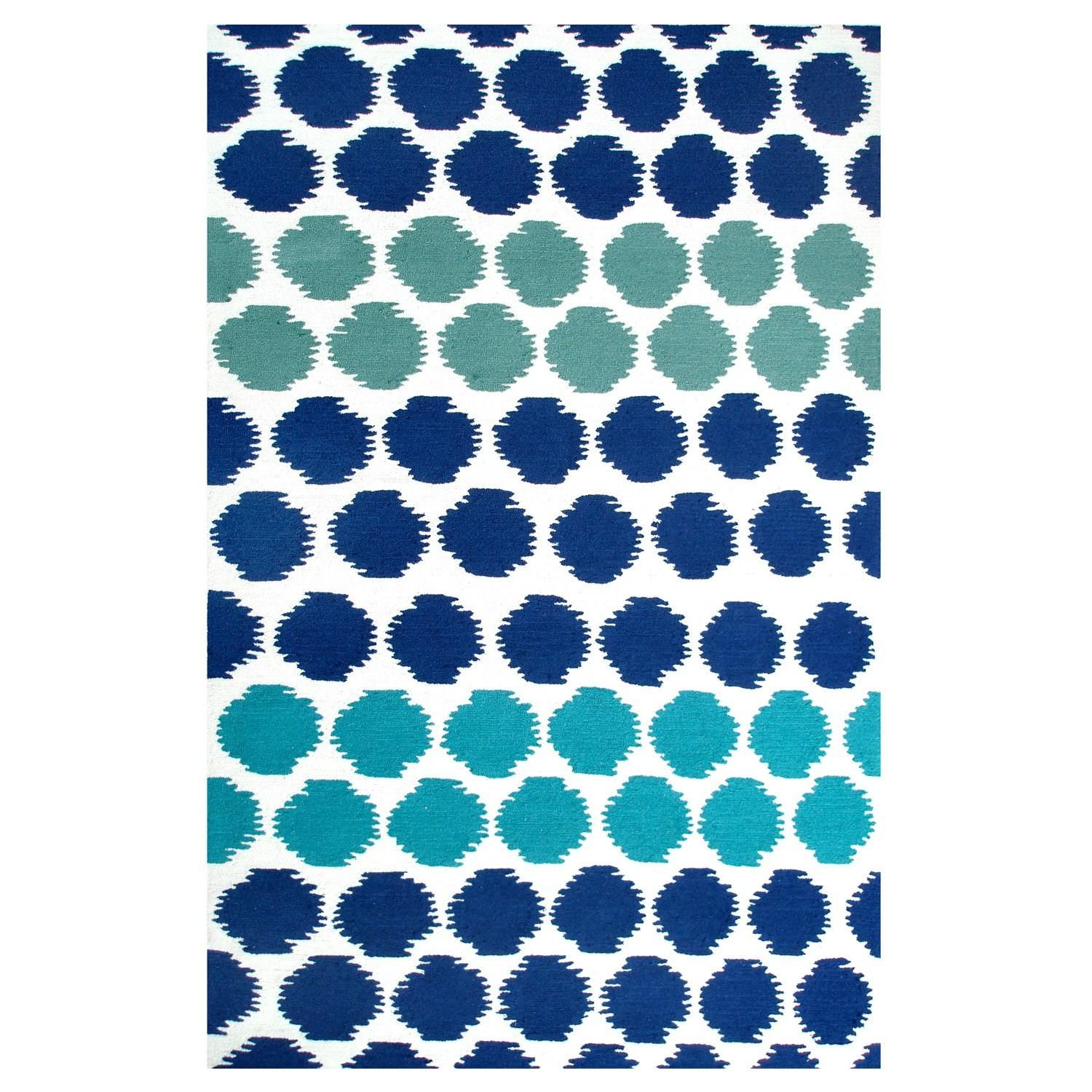 Green Navy Rug: A Fun Polka Dot Rug In Navy Blue, Turquoise, And Teal