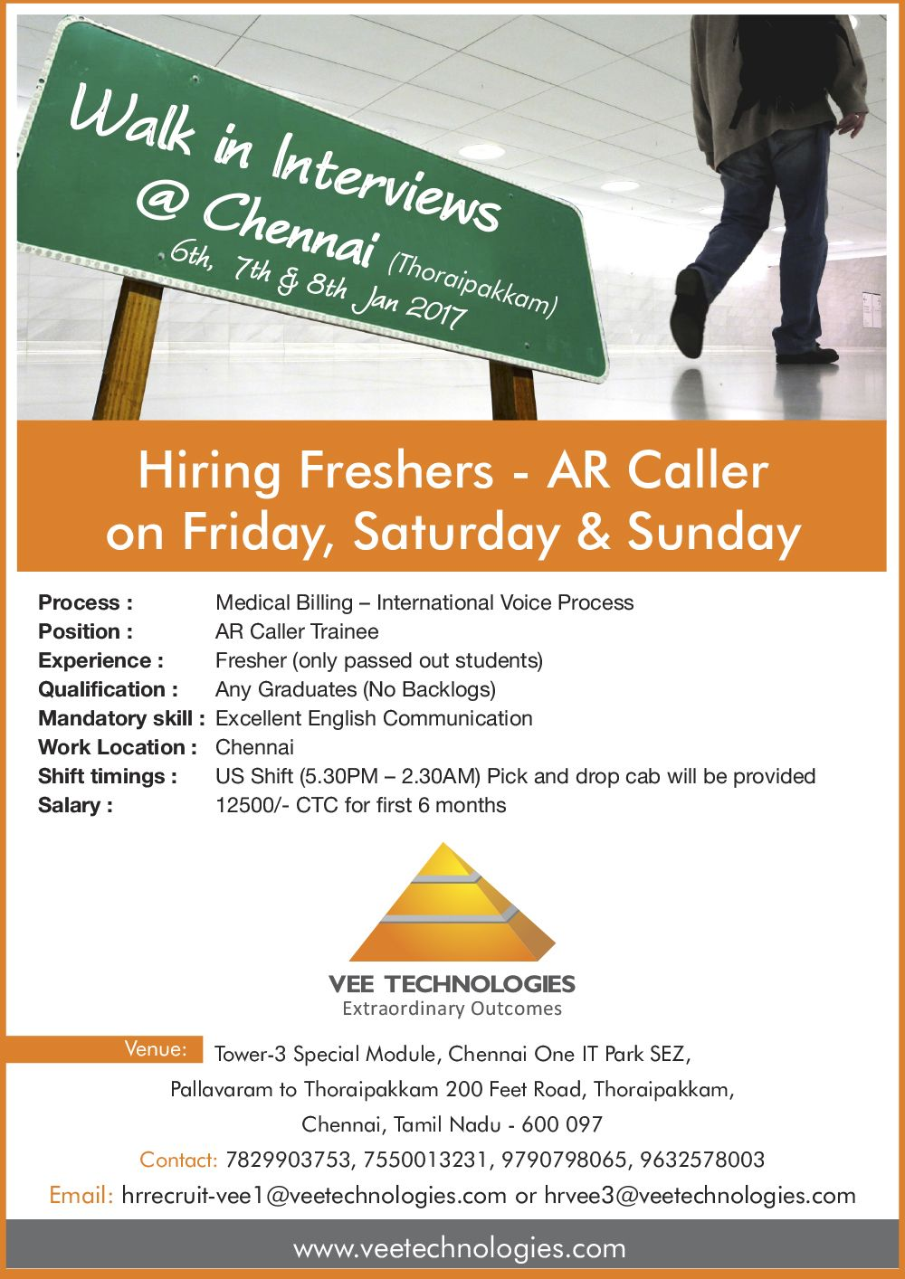 WalkIn Interview for AR Callers at Vee Technologies