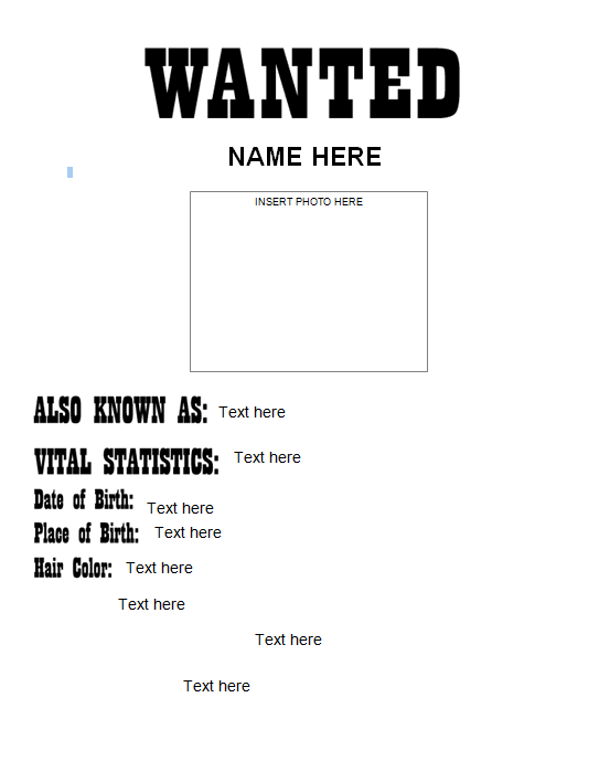 Wanted Poster Template (FBI and Old West, Free) | wanted poster ...