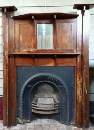 Original Vintage Or Antique Fireplace Mantlepiece Cast Iron Insert Antique Fireplace Fireplace Antiques