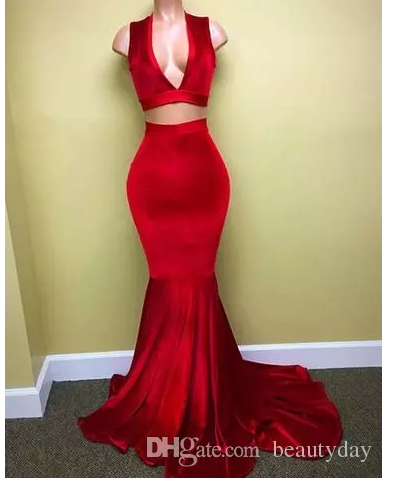 Red Prom Dresses 2018 New Velvet Evening Party Gowns Two Pieces Celebrity  Dresses Pink Beads Crystals de7997775dbe