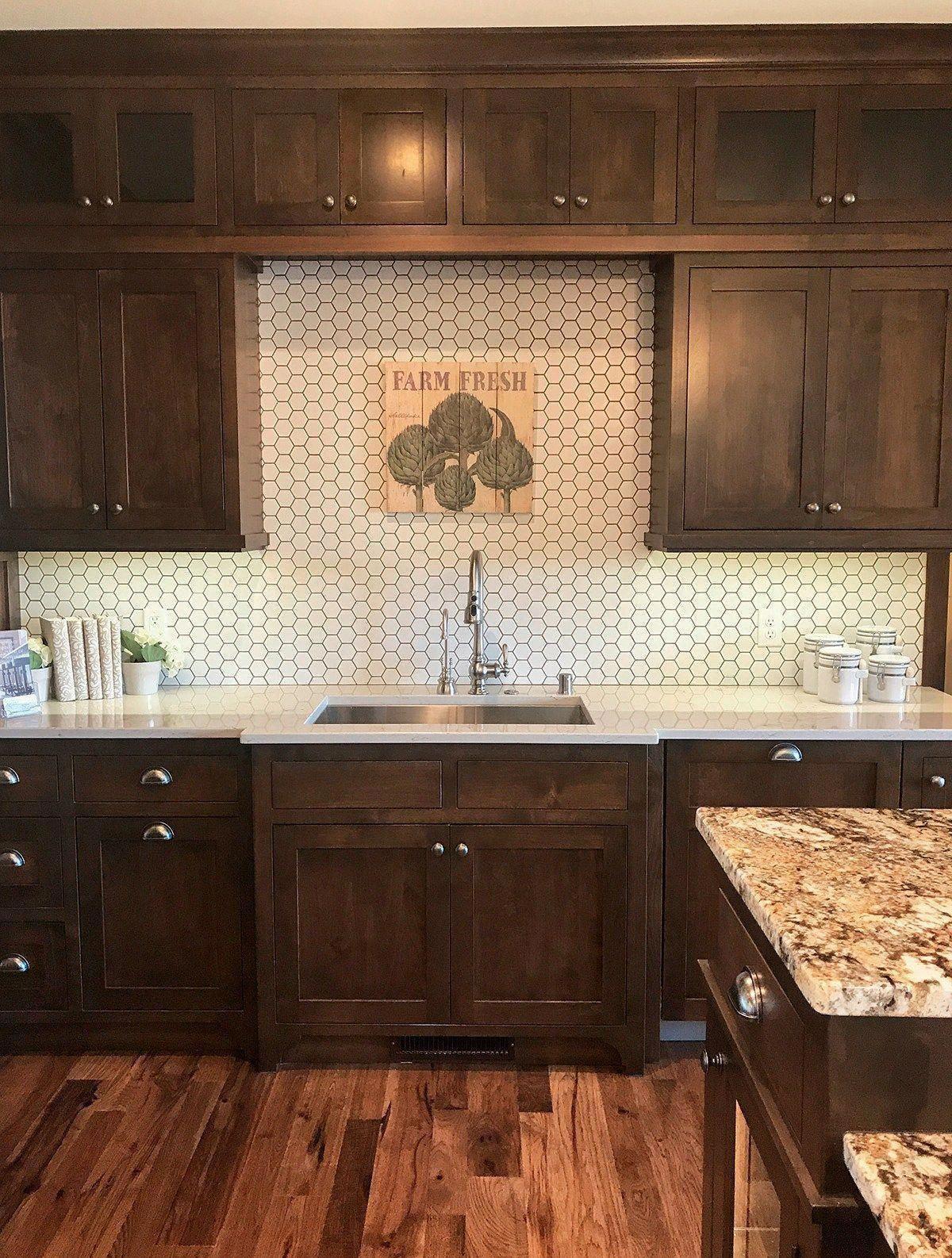 Renovate and relook kitchen shelves in 2020   Dark wood kitchen cabinets, Backsplash with dark ...