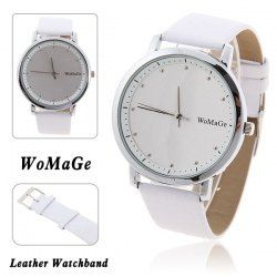 $4.06 WoMaGe Fashion Women's Watch with Dots Indicate Time Quartz Dial White Leather Band