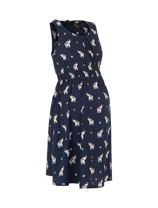 c7d8fb98227 Maternity Navy Elephant Print Shirred Waist Dress