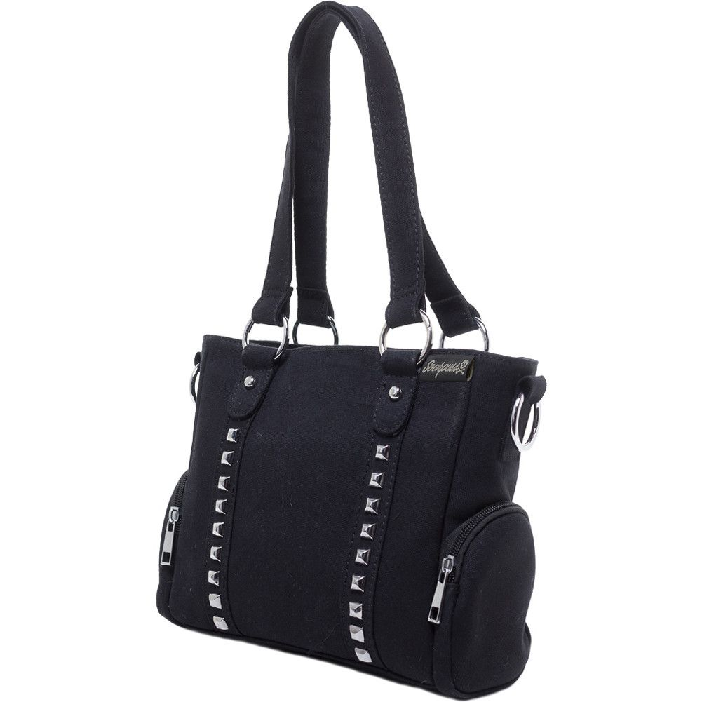 Sourpuss Mini Leda Canvas Stud Purse Black At Inked Boutique This Bag Comes With An Additional Removable And Adjule Strap That Takes It From A
