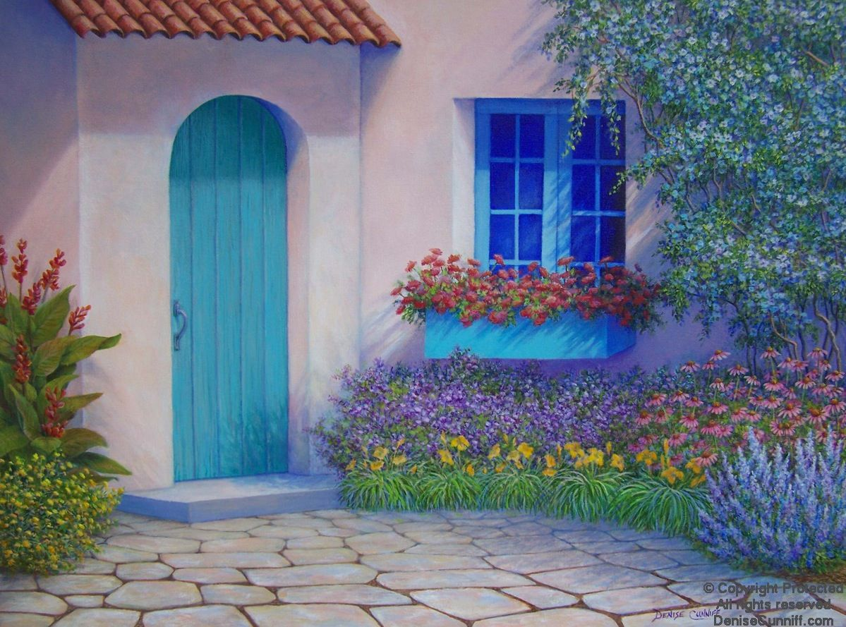 Painting by denise cunniff lots of beautiful colors including teal
